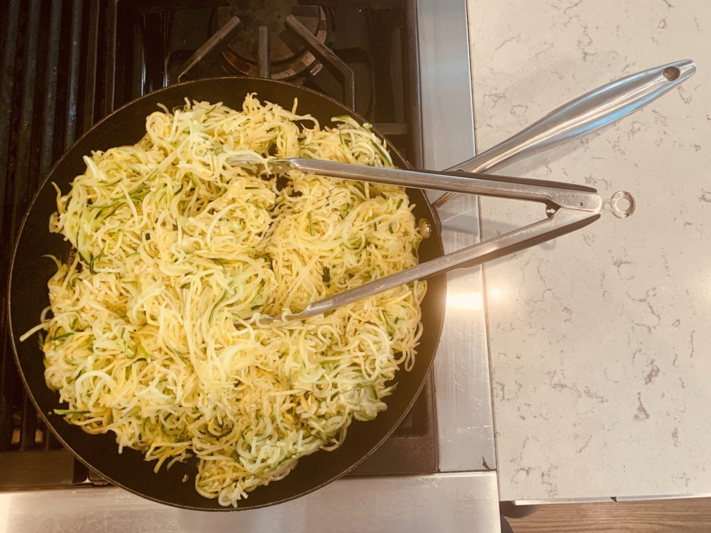 Companion Health Sauteeing Zucchini Noodles or Zoodles